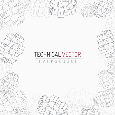 industrial design: Gears linear graphic, abstract industrial design, mechanical drawing Illustration