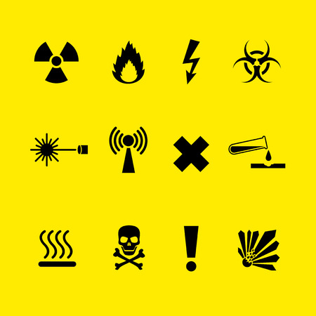 hazard sign: Black Danger symbols set on yellow background Illustration