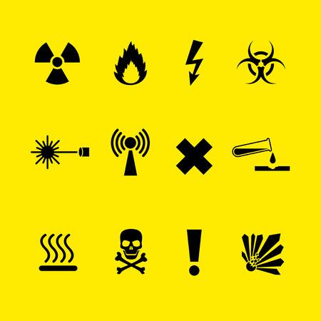 laser hazard sign: Black Danger symbols set on yellow background Illustration
