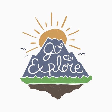 Go explore symbol mountain and rising sun Illustration