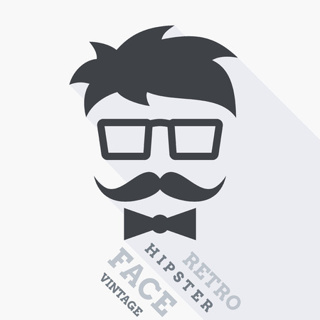 hair bow: Abstract Hipster face with hair, glasses, mustache and bowtie Illustration