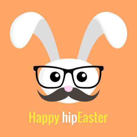 humor glasses: Easter hipster Rabbit icon with glasses and mustache