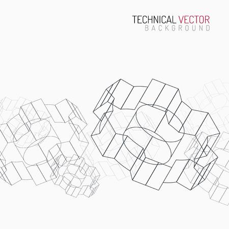 dibujos lineales: Engranajes lineal gráfico, diseño industrial abstracto, dibujo mecánico