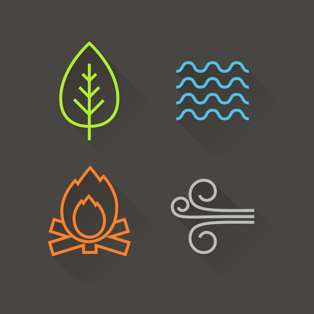fire water: Flat design element icons, with long shadow Illustration