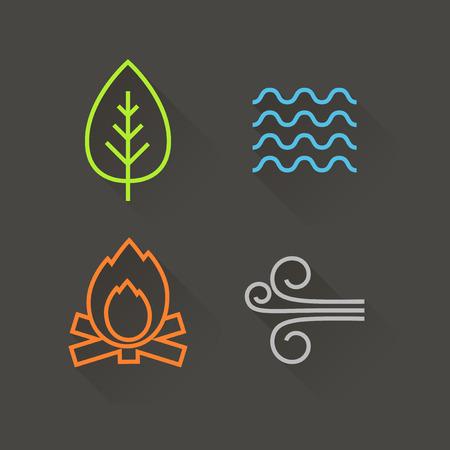 cuatro elementos: Iconos del elemento de diseño plano, con larga sombra Vectores
