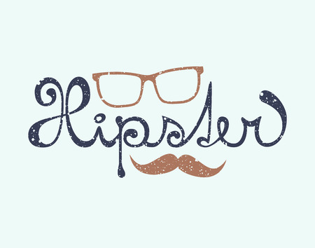 distort: Hipster lettering with glasses and mustache