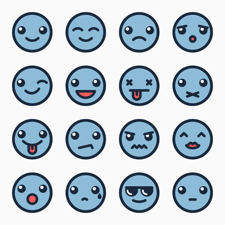 confused cartoon: Emoticons faces set, blue color