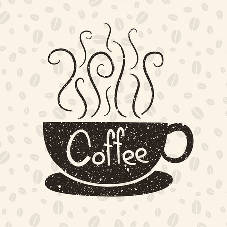 coffee beans background: Hot coffee with text and coffee beans background Illustration
