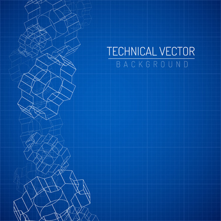 industrial design: Gears linear graphic, abstract industrial design, mechanical drawing, blueprint Illustration