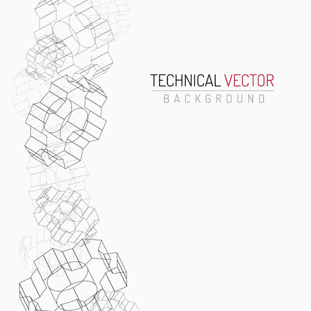 Gears linear graphic, abstract industrial design, mechanical drawing Vectores