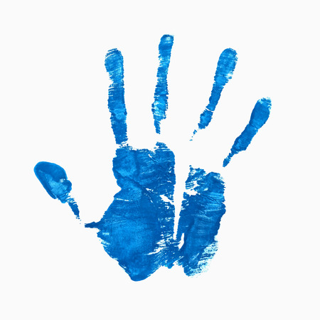 Open hand imprint, blue watercolor