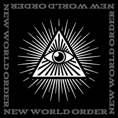 ojo de horus: Todo viendo símbolo del ojo en el fondo negro