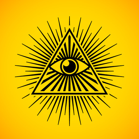 All seeing eye symbol on yellow background Illustration
