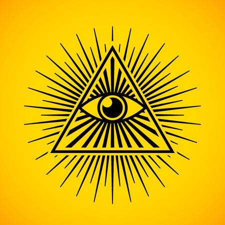 ojo de horus: Todo viendo símbolo del ojo en fondo amarillo Vectores