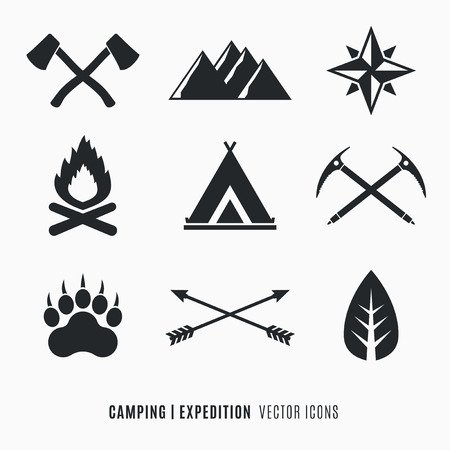 Expedition, Camping, Wilderness symbols set Stock Illustratie