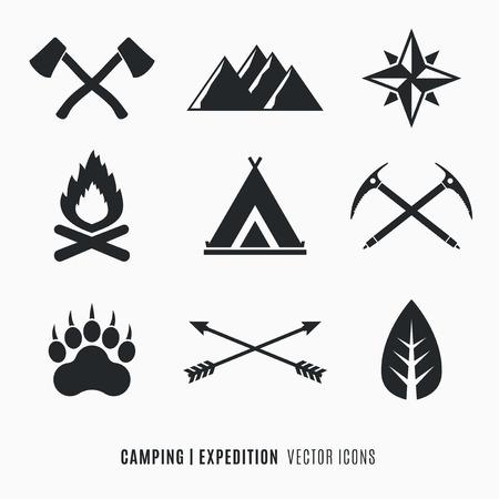 Expeditie, Kamperen, Wildernis symbolen set