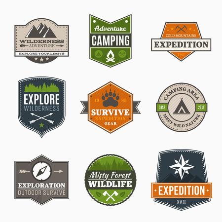 Retro Camp badges, exploratie, expeditie design template
