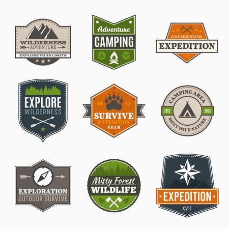 Retro Camp badges, exploration, expedition design template Imagens - 39809664