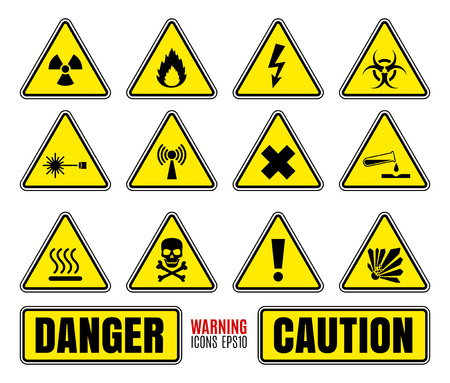 electricity danger of death: Danger symbols set