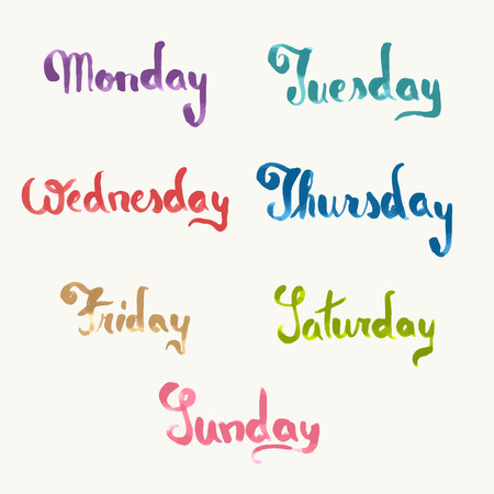 days of the week: Days of week, handwritten brush, watercolor texture Illustration