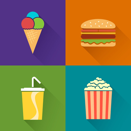 Flat food symbols with long shadow, ice-cream, hamburger, soda, popcorn Vector