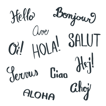 text word: Handwritten greetings in different languages