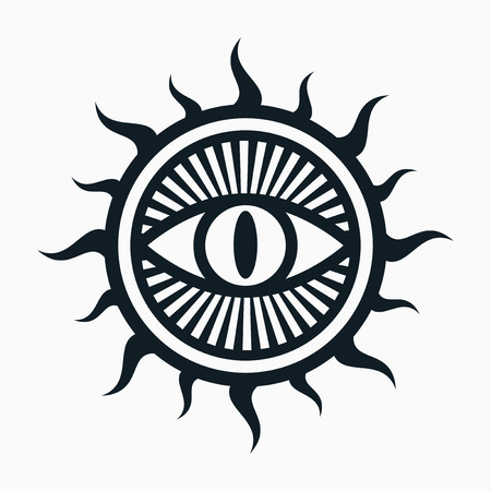 occult: Occult symbol, eye in sun symbol Illustration