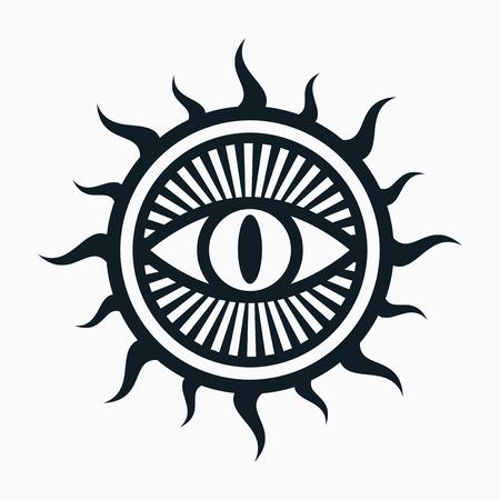 Occult symbol, eye in sun symbol Vectores
