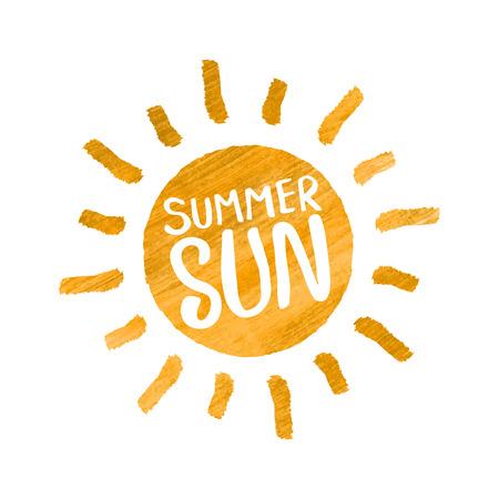 Summer sun, yellow watercolor texture