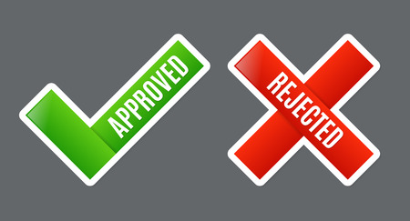 rejected: Approved and Rejected symbols Illustration