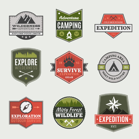 mountaineering: Retro Camp badges, exploration, expedition design template