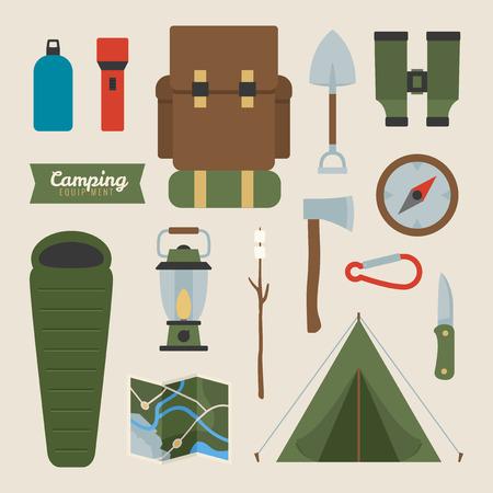 Camping equipment, vector icon symbols Çizim