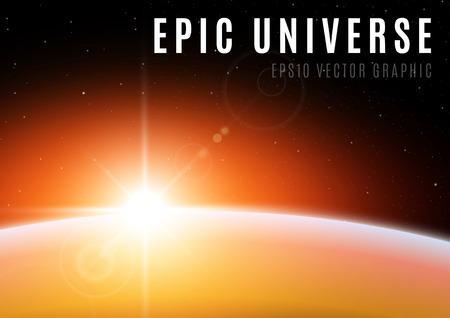 Universe sunrise epic scene
