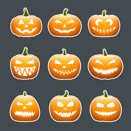 Halloween pumpkin lanterns with faces set, sticker design Vector