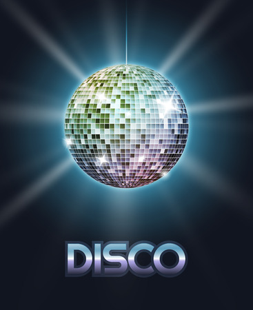 disco symbol: Mirror disco ball poster with rays