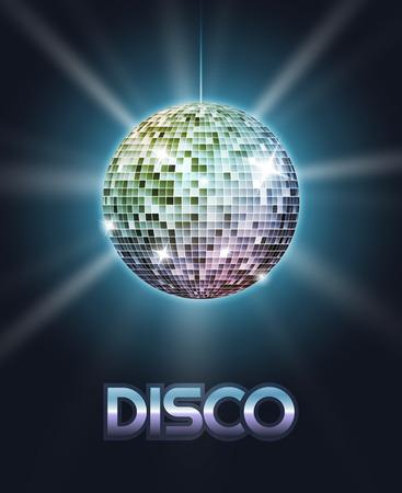 disco: Mirror disco ball poster with rays