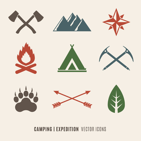 woodsman: Expedition, Camping, Wilderness symbols set Illustration