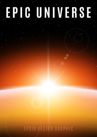 서사시: 우주 일출의 장엄한 장면