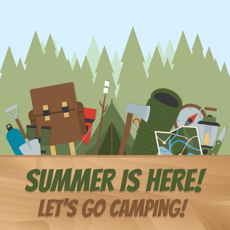 campamento: El verano está aquí, Equipo de camping Vectores