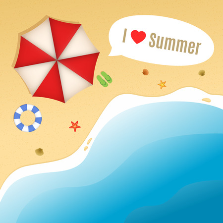 beach buoy: Summer Beach with shells, starfishes, life buoy, flip-flops and umbrella