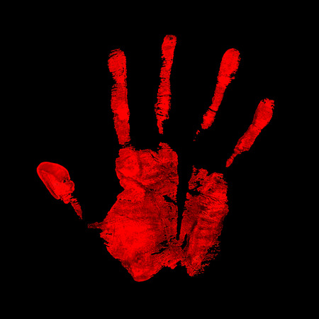 Open hand imprint, blood red color Çizim