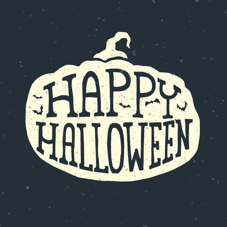 treat: Happy halloween card with pumpkin and bats, lettering design