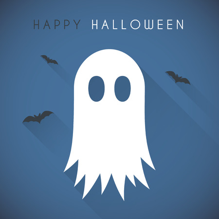 wraith: Simple Happy halloween card with ghost and bats Illustration