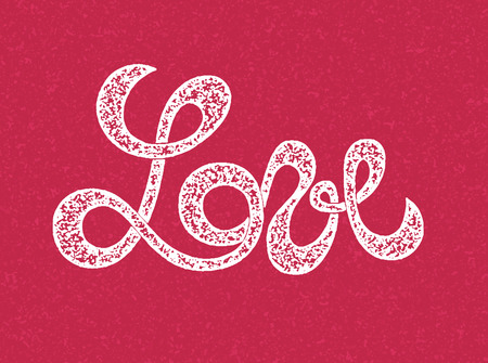 love stamp: Love lettering, stamp design Illustration