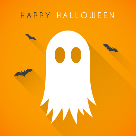 spectre: Simple Happy halloween card with ghost and bats Illustration