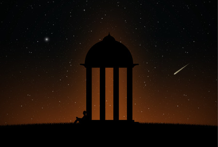 alone person: Alone person is waiting in front of gazebo, night sky full of stars