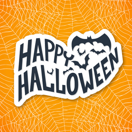 treat: Halloween is here card with witch hat and bats, lettering design Illustration