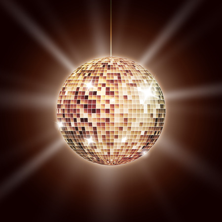 Mirror disco ball poster with rays 版權商用圖片 - 43136688