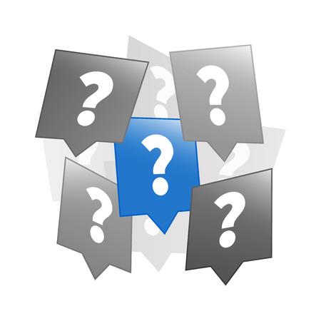 punto interrogativo: Domanda icone folla, design piatto