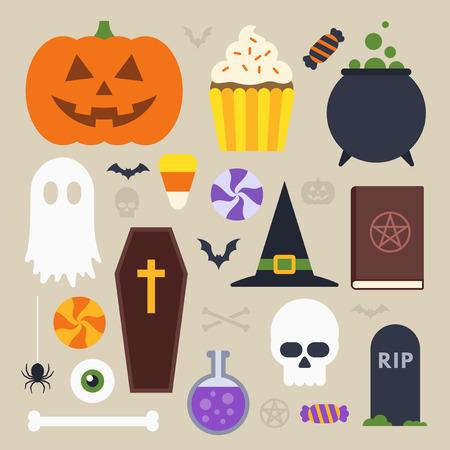 treats: Iconos de Halloween establecer, de diseño plano simple Vectores